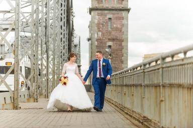 Большеохтинский мост Петра Великого - свадебное фото