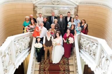 Дворец бракосочетания №1 - общее фото. Молодожёны, их родственники и гости